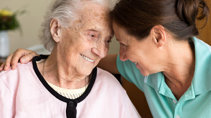Daughter with Mother - Alzheimer's Late Onset